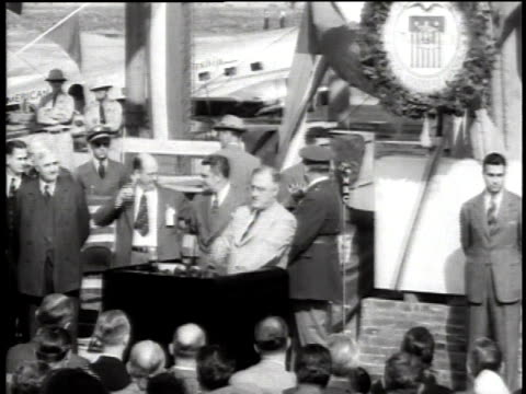 president franklin roosevelt speaking to crowd at opening of washington national airport / virginia united states - 1940 stock videos & royalty-free footage
