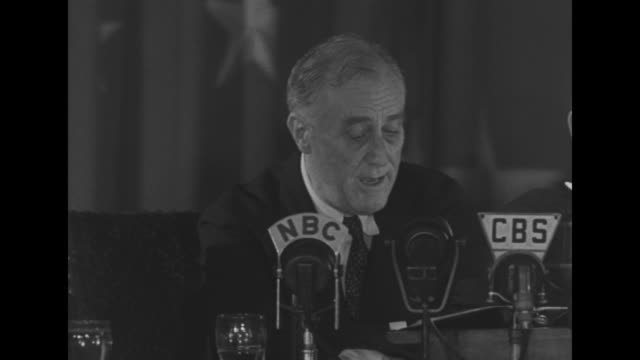 president franklin roosevelt speaks at microphones as he delivers speech at international brotherhood of teamsters banquet, sot: [re his opponents... - great depression stock videos & royalty-free footage
