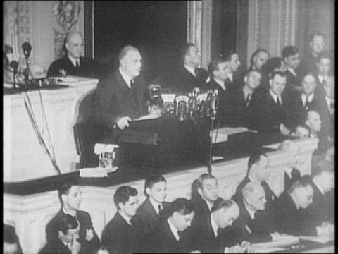 president franklin roosevelt speaks to congress about his dissatisfaction on the us defense progress in 1941 - 1941 stock videos & royalty-free footage