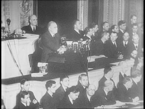 president franklin roosevelt speaks to congress about the us peace tactics in 1941 / 'those who would give up essential liberty to purchase a little... - 1941 stock videos & royalty-free footage