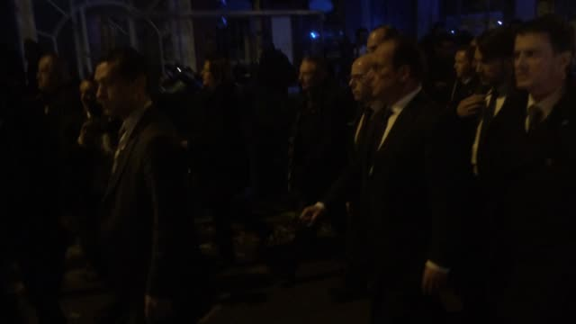 President François Hollande is seen at the Bataclan concert hall on Friday the 13th of November where 80 people have been killed by terrorists in a...
