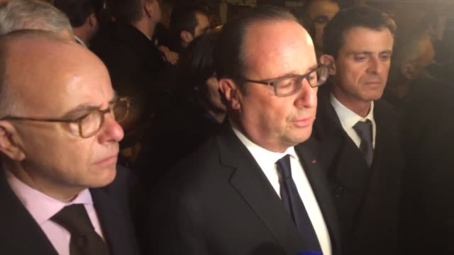 president françois hollande is seen at the bataclan concert hall on friday the 13th of november, where 80 people have been killed by terrorists in a... - bernard cazeneuve stock videos & royalty-free footage