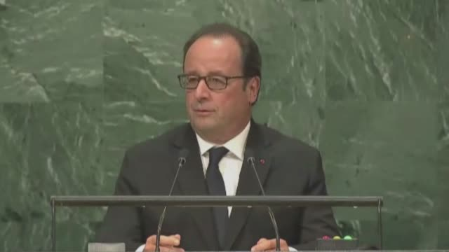 president françois hollande of francedelivers a speech during the 71st session of the united nations general assembly new york, usa on september 20,... - françois hollande stock videos & royalty-free footage