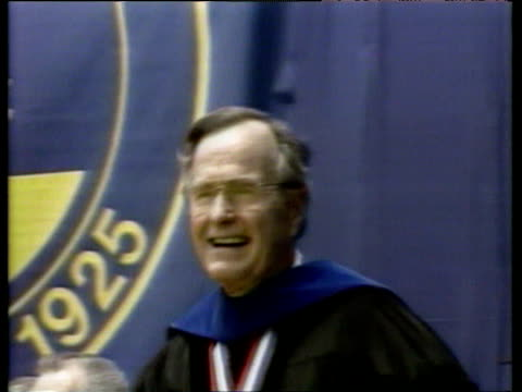 president george bush senior wearing cap and gown shouts - blessing stock videos & royalty-free footage