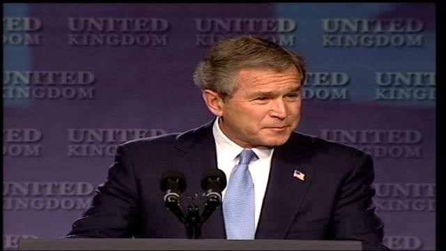president george bush state visit: banqueting hall speech; england: london: banqueting house: int cms us president george w bush at podium making... - jack straw stock videos & royalty-free footage