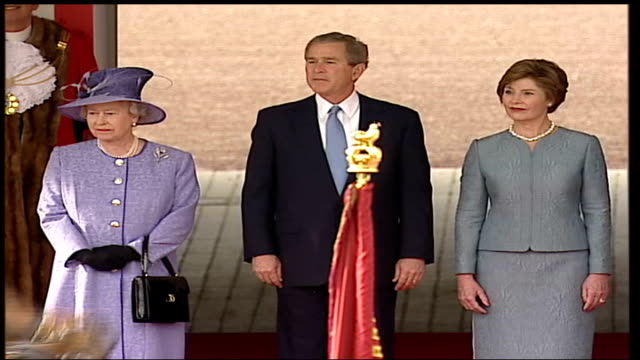 president george bush state visit; england: london: buckingham palace: ext gvs mounted guards along past in march past of dais cms us president... - jack straw stock videos & royalty-free footage