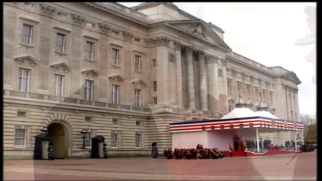 president george bush state visit; england: london: buckingham palace: ext cms foreign secretary jack straw mp chatting with bcms colin powell fade... - jack straw stock videos & royalty-free footage
