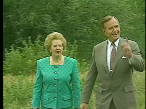 president george h. bush meets with british prime minister margaret thatcher in aspen, colorado. - us president stock videos & royalty-free footage