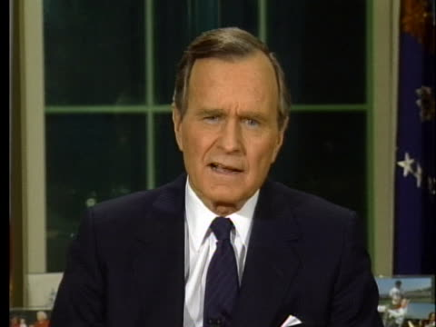 president george h. w. bush addresses the nation about the american goals during desert storm from the oval office. - desert stock videos & royalty-free footage