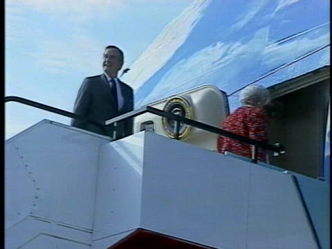 president george h. w. bush and first lady barbara bush wave as they board air force one to depart australia. - (war or terrorism or election or government or illness or news event or speech or politics or politician or conflict or military or extreme weather or business or economy) and not usa stock videos & royalty-free footage