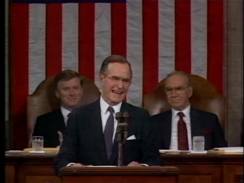 president george h. w. bush announces that his budget will include funding for a clean coal technology agreement with canada. - business or economy or employment and labor or financial market or finance or agriculture stock videos & royalty-free footage