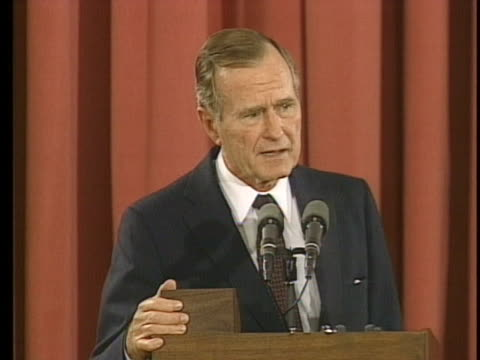 vídeos y material grabado en eventos de stock de president george h. w. bush answers questions at a press conference in madrid, spain. - (war or terrorism or election or government or illness or news event or speech or politics or politician or conflict or military or extreme weather or business or economy) and not usa
