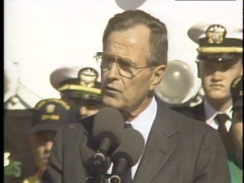 president george h. w. bush delivers a speech on arms waste at norfolk naval base in virginia. - united states department of defense stock videos & royalty-free footage