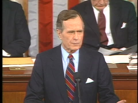 president george h. w. bush delivers a state of the union address in washington, dc. - war or terrorism or military点の映像素材/bロール