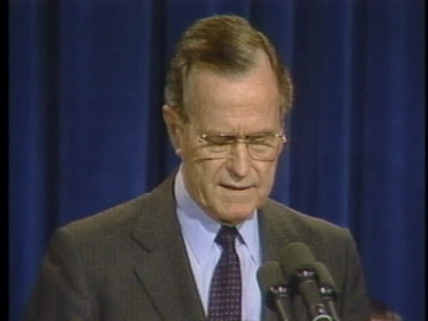 president george h. w. bush discusses the steps iraq must take in order for coalition forces to step down in the middle east. - patriotism stock videos & royalty-free footage