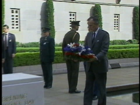 president george h. w. bush lays a wreath at an australian war memorial. - (war or terrorism or election or government or illness or news event or speech or politics or politician or conflict or military or extreme weather or business or economy) and not usa stock videos & royalty-free footage