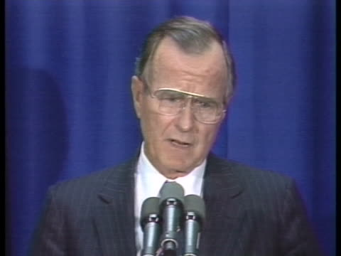 stockvideo's en b-roll-footage met us president george h w bush proposes cuts in us participation in european at the nato summit - business or economy or employment and labor or financial market or finance or agriculture