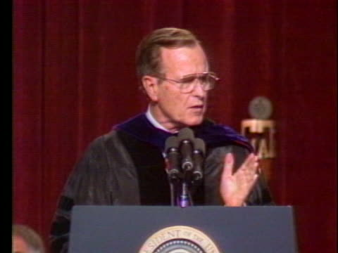president george h. w. bush proposes open surveillance with the soviet union during a speech at a texas a & m commencement ceremony. - (war or terrorism or election or government or illness or news event or speech or politics or politician or conflict or military or extreme weather or business or economy) and not usa stock videos & royalty-free footage