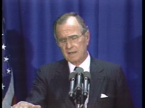stockvideo's en b-roll-footage met us president george h w bush proposes us cuts in european forces at the nato summit - business or economy or employment and labor or financial market or finance or agriculture