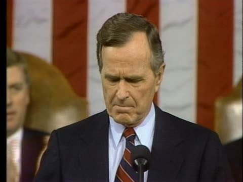 president george h. w. bush speaks about the recession of the early 1990s. - recession stock videos & royalty-free footage
