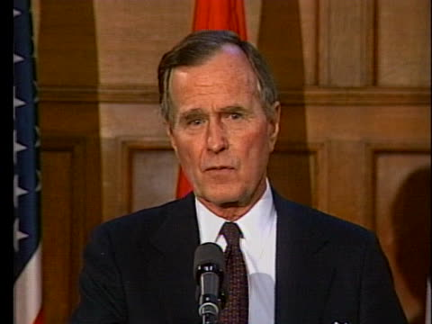 president george h. w. bush warns iran not to annex iraqi territory. - united states and (politics or government) stock videos & royalty-free footage