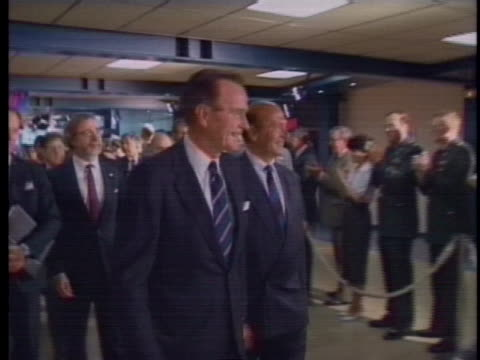 president george h.w. bush arrives to meet with nato leaders. - nato stock-videos und b-roll-filmmaterial