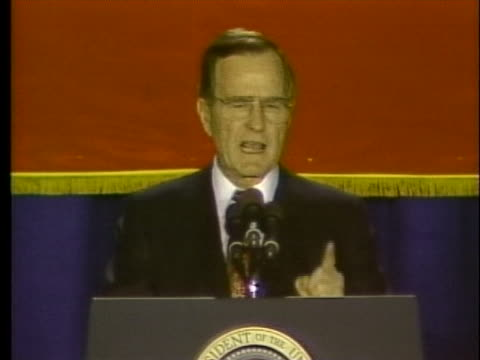 president george h.w. bush discusses the success of operation desert storm. - desert stock videos & royalty-free footage