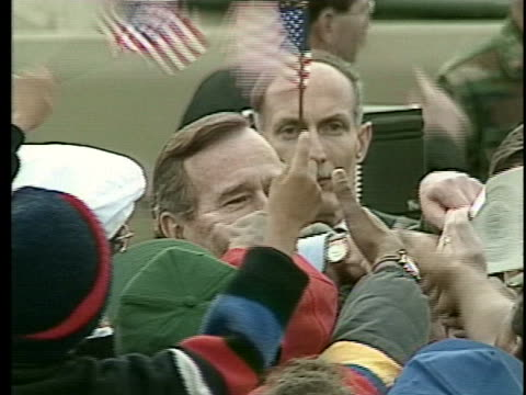 president george h.w. bush greets military families at fort stewart during the persian gulf war. - fort stewart stock videos & royalty-free footage