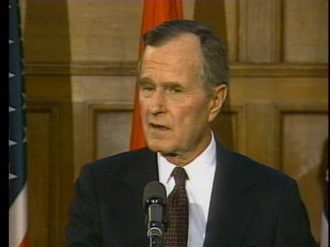 president george h.w. bush says that as long as saddam hussein is leading iraq, normalized relations are impossible. - united states and (politics or government) stock videos & royalty-free footage