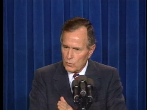 president george h.w. bush says the invasion of kuwait has nothing to do with iraq, and francois mitterrand of france should know that. - president of france stock videos & royalty-free footage