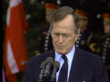 president george h.w. bush talks about the danish backing the allies during operation desert storm. - business or economy or employment and labor or financial market or finance or agriculture stock videos & royalty-free footage