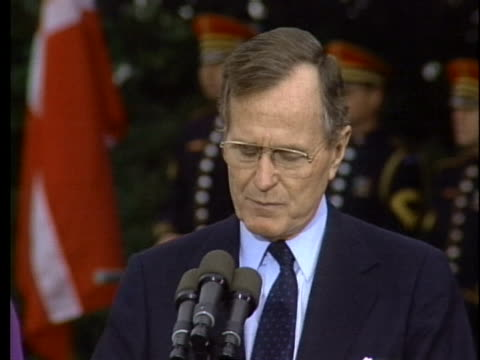 stockvideo's en b-roll-footage met us president george hw bush talks about the danish backing the allies during operation desert storm - business or economy or employment and labor or financial market or finance or agriculture