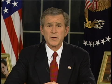 president george w bush address to the nation re beginning of iraq bombing head on clean full speech 22:15:53 to all the men and women of the united... - 2003 stock videos & royalty-free footage