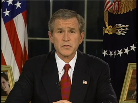president george w bush address to the nation re beginning of iraq bombing head on clean full speech 22:15:02 my fellow citizens 22:15:05 at this... - 2003 stock videos & royalty-free footage
