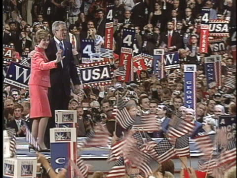 president george w. bush and first lady laura bush receive applause at the 2004 republican national convention. - laura bush stock videos & royalty-free footage