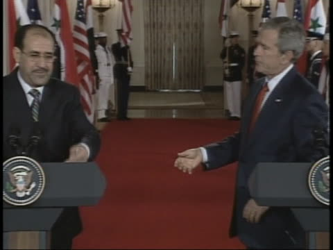president george w. bush and iraqi prime minister nouri al-maliki hold an official press conference. - 2006 stock videos & royalty-free footage