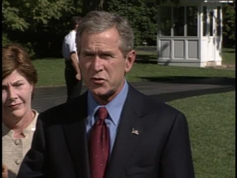 "stockvideo's en b-roll-footage met president george w. bush declares a crusade or a war on terror following 9/11 terrorist attacks. george bush state, ""this crusade, this war on... - war or terrorism or military"