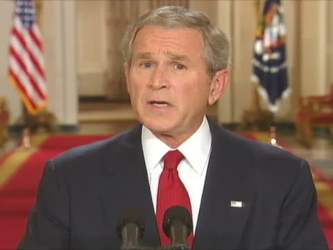 president george w. bush discusses the u.s. economy. - finance stock videos & royalty-free footage