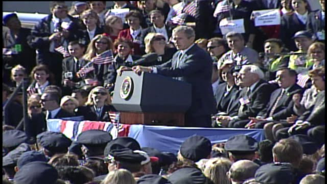 wgn president george w bush gives speech to airline employees at chicago o'hare airport on september 27 2001 in chicago illinois - president stock videos & royalty-free footage