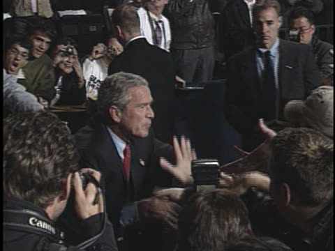 president george w. bush greets supporters after his successful 2004 reelection. - 2004 stock videos & royalty-free footage