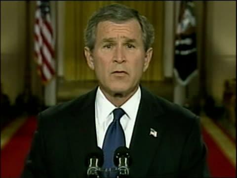 vídeos y material grabado en eventos de stock de president george w bush issues ultimatum to saddam hussein in tv address washington dc mar 03 - saddam hussein