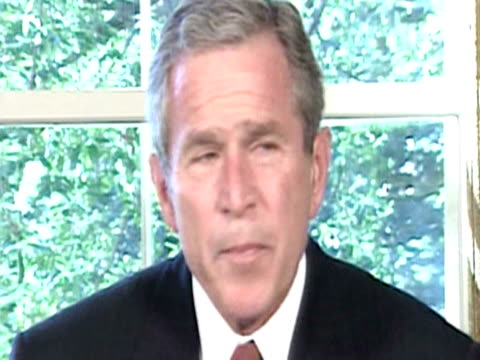 us president george w bush makes statement to the american nation following the bombing of world trade centre in new york - september 11 2001 attacks stock videos & royalty-free footage