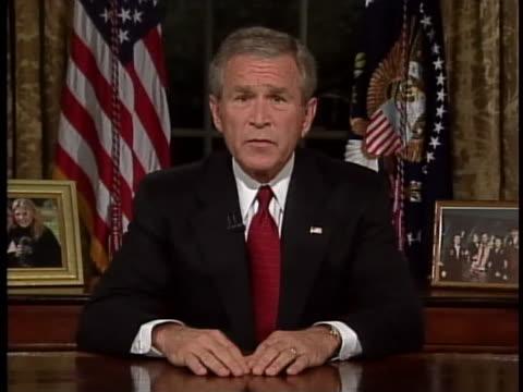 vídeos y material grabado en eventos de stock de president george w. bush says that america will find osama bin laden and bring him to justice. - venganza