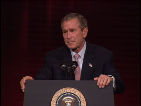 president george w bush says that americans are loving their neighbors like they'd like to be loved themselves full soundbite is as follows this... - ngクリップ点の映像素材/bロール