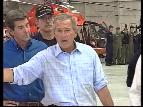 president george w bush says that trent lott will have a great home rebuilt after hurricane katrina full soundbite is as follows the good news is and... - ngクリップ点の映像素材/bロール
