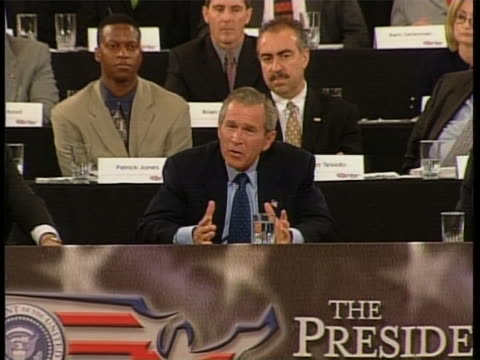 president george w. bush seems mistakenly enthusiastic about the difficulties that lie ahead in the united states' future. full soundbite is as... - blooper film clip stock videos & royalty-free footage