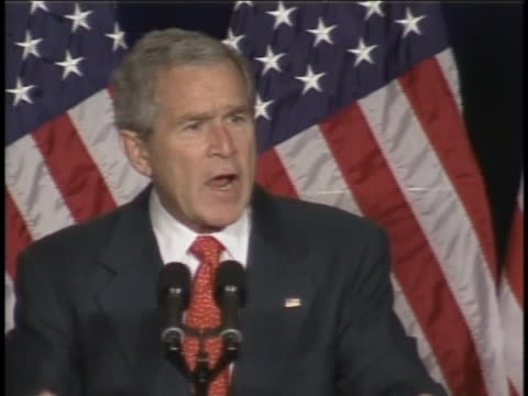 president george w bush speaks about the war in iraq at the national republican senatorial committee reception - (war or terrorism or election or government or illness or news event or speech or politics or politician or conflict or military or extreme weather or business or economy) and not usa video stock e b–roll
