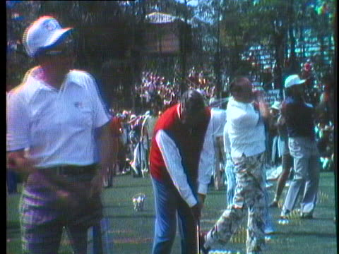 president gerald ford, bob hope, and jackie gleason drive balls on a golf-course. - bob hope komiker stock-videos und b-roll-filmmaterial