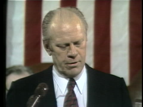 us president gerald ford gives a state of the union address to congress - business or economy or employment and labor or financial market or finance or agriculture stock videos & royalty-free footage