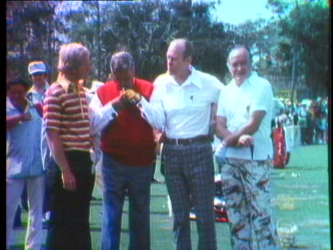 president gerald ford meets bob hope and jackie gleason on a golf course. - bob hope komiker stock-videos und b-roll-filmmaterial